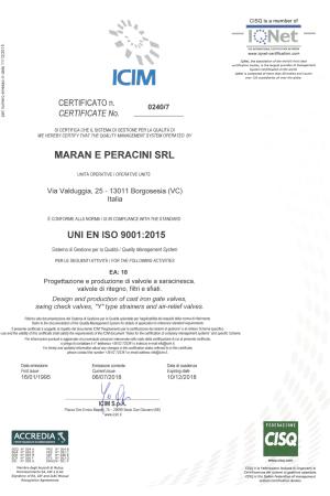 Certificato ISO 9001-2015 icim